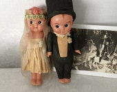 "Vintage 1920's Celluloid Bride and Groom 5 1/2"" Kewpie Wedding Cake Topper...Crepe Paper Clothing...Bridal....Wedding"