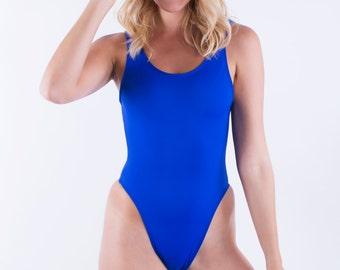 Royal Blue Retro One Piece Swimsuit