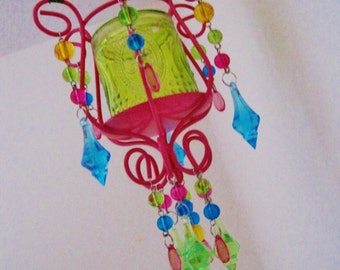 Fun and Frilly 1 Candle Chandelier with Matching Wall Hook MADE TO ORDER