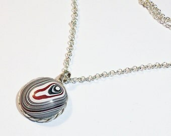 New Necklace made from a Vintage Sterling Silver Pendant, Up-Cycled and Revamped with Authentic Fordite Cabochons ~ mrfeld ~ FN31