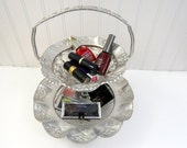 2-Tier Stand Handmade from Vintage Ruffled Aluminum and Pressed Glass, Perfect Make Up Organizer