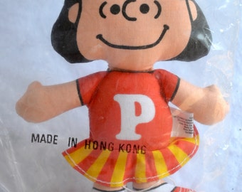 Vintage Christmas Ornament - Peanuts Lucy Fabric Plush Cheerleader Doll - NOS