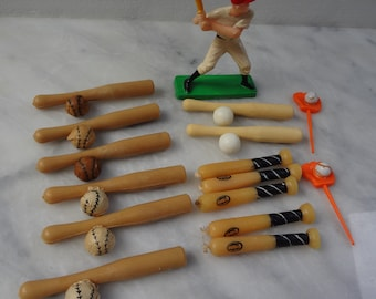 Vintage Baseball Cake Toppers and Candles / Deluxe 16 Piece Set