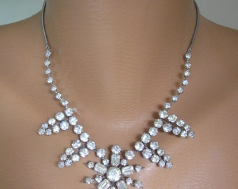 Crystal Bridal Necklace, Wedding Jewelry, Party Necklace, Prom Jewelry, Vintage Bridal Choker, Rhinestone Necklace, Great Gatsby, Art Deco