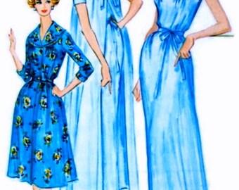 UNCUT * 1950s McCalls  Pattern 5198 -- GLAMOROUS  Ladies' Peignoir, Nightgown,  Hostess Robe - Size 14 * Bust 34