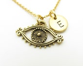 Evil Eye Necklace, Eye Charm Necklace, Personalized, Initial Necklace, Monogram Initial Letter, Lucky Charm Necklace, Antique Gold Eye Z321