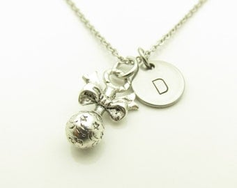 Baby Rattle Necklace, Rattle Charm Necklace, Personalized, Initial Necklace, Baby Necklace, Silver Baby Rattle, Baby Shower Theme Y249