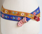 Harvest Gold Floral Ribbon Belt made with vintage cotton woven ribbon