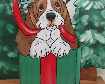"""Hand Painted Basset Hound Table Top Art - """"Maggie"""" in Christmas Present"""