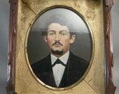 American Antique Walnut Frame w/ Hand Painted Photograph, Civil War Era Frames, Walnut Frames, Hand Tinted Photographs, Victorian Era Frames
