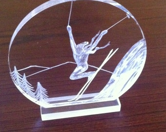 Vintage Signed Lucite Skier Carving Signed Galvan '82, Joseph Galvan Lucite Carvings, Vintage Lucite, Collectible Joseph Galvan** USA ONLY**