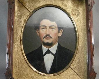Antique American Walnut Frame, Antique Hand Painted Photograph, Civil War Era Frames, Walnut Frames, Hand Tinted Photographs, **USA ONLY**