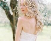 Floral Wedding Headpiece, Enamel Flower and Crystal Bridal Headpiece, Wedding Hair Accessory - Style 502