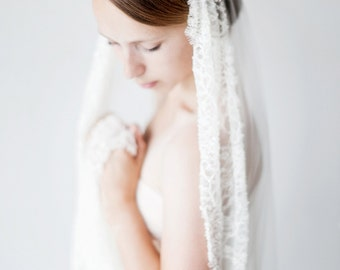 Wedding Veil, Juliet cap, Bridal Veil, Chapel length, lace veil, Crystal Beaded Veil - Style 422