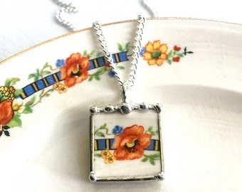 Broken china jewelry. recycled broken china pendant necklace antique orange poppy made from recycled broken china