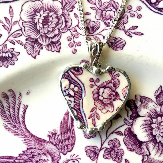 Purple plum mulberry toile English transferware broken china jewelry heart pendant necklace