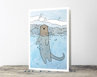 Cute Otter Christmas Card - holiday animal stationery