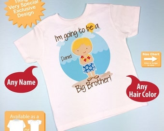 I'm Going to Be A Big Brother Shirt or Onesie - Personalized Hawaiian Theme Big Brother Shirt - Big Brother Hawaii (02182015e)