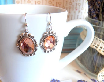 Gorgeous Faceted Silver Earrings, Antiqued Silver Plated Charms, Sparkling Silver Jewelry, Handmade Keepsake Jewelry Gifts by HoneyNest