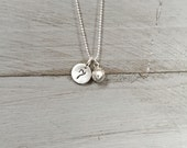 Sterling Silver Softball Necklace - Baseball Number Necklace - Tiny Small