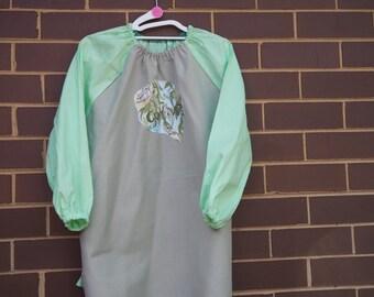 Age 9 to 12 kids craft apron, children's school art smock, long sleeve waterproof front. May Gibbs.