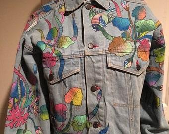 Vintage Paul Ropp Hand painted Jean Jacket Denim Wearable Art Indonesia Mod 1990