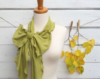 Olive Green Skinny Scarf, Bow Scarf, Neck Tie for Women, Extra Long Green Scarf, Green Belt, Green Headband, Skinny Scarf, Fall Scarf
