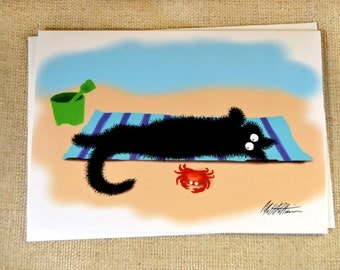 Black Cat Illustration Greeting Card  - Sammy at the Beach