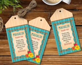 Luau Favor Tag - Hawaiian Party Thank You Tag - Yellow/Orange Collection with EDITABLE text - Instant Download DIY Printable PDF