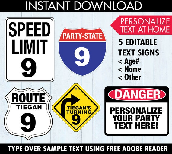 Race Car Party Traffic Signs Construction Party Cars Party - Cars sign and names
