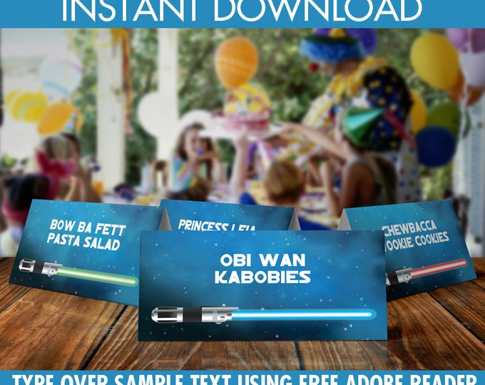Star Wars Food Labels - Star Wars Birthday Party, Buffet Tags, Table Tents, Lightsaber | Editable Text - DIY Instant Download PDF Printable