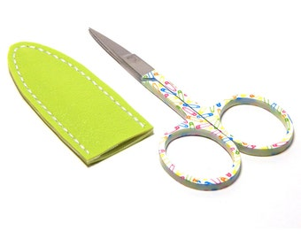 Embroidery Scissors & Sheath 3 1/2 Inch Sewing Pins Print with Lime Light Vinyl Sheath
