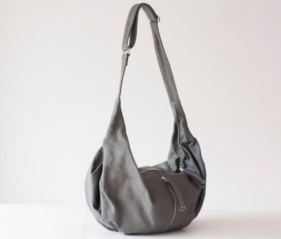 Crossbody bag grey canvas,messenger purse,crossover bag,hobo bag,long strap purse,shoulder across the body bag -Crossbody Kallia bag