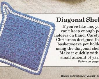 Diagonal Shell Pot Holders Vintage Crochet Pattern