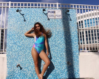 Vintage Bright Blue and Purple Tropical Swimsuit