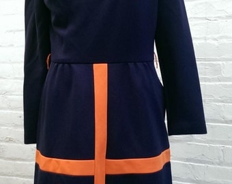 Vintage Blue and Orange Mod Dress