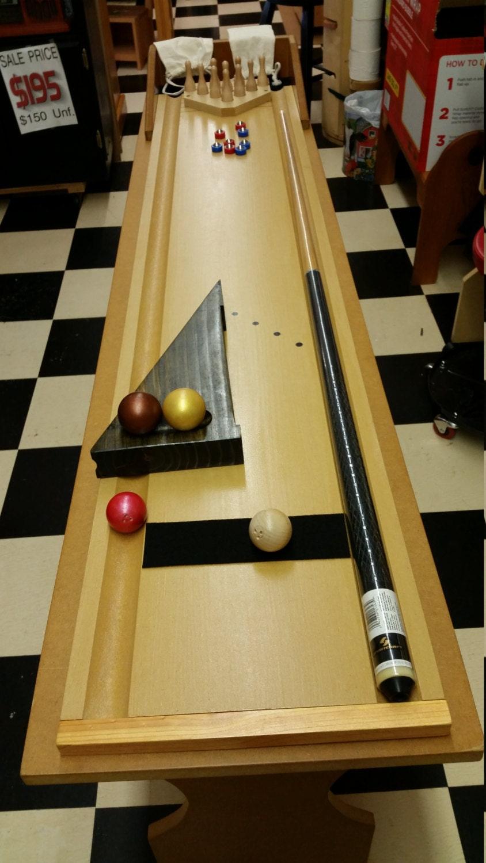 Cue Bowling Plus Mini Shuffleboard Table Top Bowling Game For