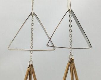 Open Silver Triangle Tassel Earrings | E21625