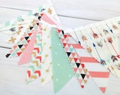 Bunting Banner,Girl Nursery Decor,Birthday Decoration,Home Decor,Coral Pink,Blush Pink,Mint Green,Gold,Aztec Nursery,Tribal,Arrows