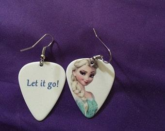Frozen Guitar pick earrings, Elsa, Frozen, Princess, Guitar pick earrings