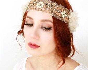 Boho bridal headpiece, flapper headpiece, 1920s wedding, wedding headband, ivory bridal headpiece, whimsical headband, art nouveau accessory