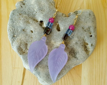 SALE...Glowing Periwinkle Chalcedony, Shell, Ruby Jade long leaf  14k Gold Filled earrings by GlamRox. Gift for her. ETSY Gift