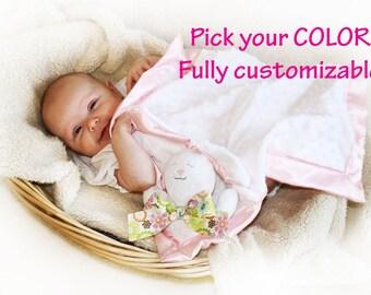 White Minky Bunny Rabbit Security Blanket, Lovey Blanket, Satin, Baby Blanket, Stuffed Animal, Baby Toy - Customize Color