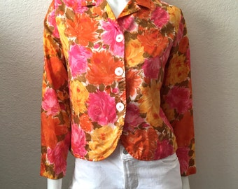 Vintage Women's 60's Cropped Jacket, Floral, Long Sleeve, Silk by Macshore Classics (S)