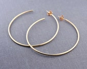 Solid 14K Gold 2 Inch Hoop Earrings | gift for her