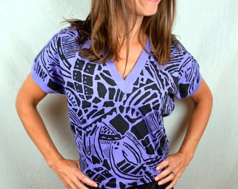 Vintage 80s Purple Geometric Cropped Tee Shirt