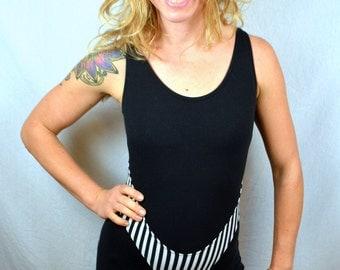 Vintage 1980s Black White Striped Geometric Spandex Leotard Unitard Bodysuit