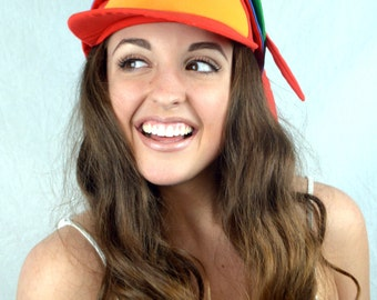 Vintage 90s Parrot Bird Wild Tropical Rainbow Snapback Hat