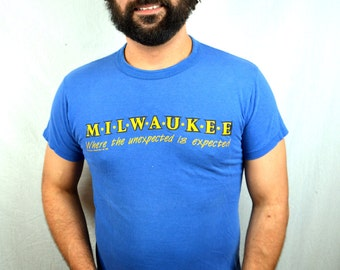 Vintage 80s 1980s Blue Milwaukee Tshirt Tee Shirt