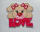 Free Shipping Ready to Ship  Valentine Dog Love Fabric Iron on applique
